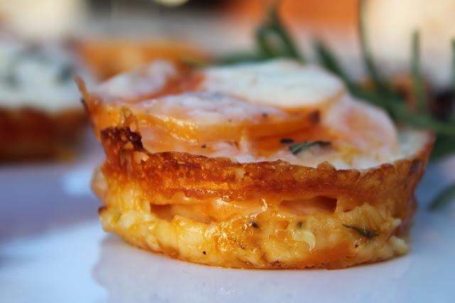 Scalloped sweet potato stacks: Scallops Sweet, Potatoes Stacking, Side Dishes, Recipe, Muffins Pan, Muffins Tins, Dinners Parties, Sweet Potatoes, Bounty Kitchens
