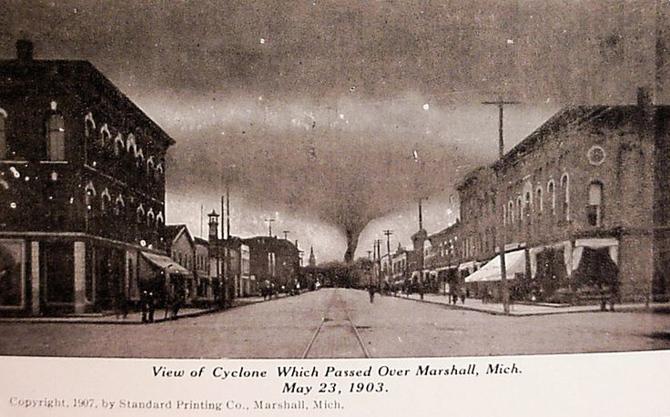 View of Cyclone Which Passed Over Marshall, Michigan, May 23, 1903.