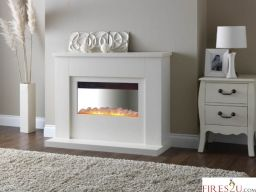 The new Pureglow Newport electric fireplace suite comes in a stunning pure white matt finish and complete with Pureglows electric fire The main features of this Electric fireplace suite are - 2 Heat Settings 1kW / 2kW The electric fire has a thermostatic Control Manual controls Stainless Steel Curved Back within the electric fire Loose Pebble Fuel Bed 3 year Guarantee on the electric fire