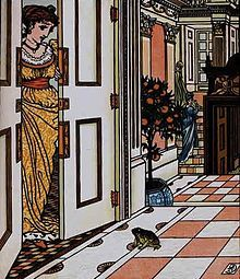 De kikkerkoning vraagt of hij het kasteel mag binnen gaan. (1874) Walter Crane - Wikipedia
