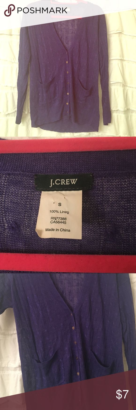 J. Crew purple cable knit boyfriend sweater S Long sleeve cable knit boyfriend or grandpa sweater size small.  (Runs big - I'm normally a medium). 2 pockets on front.  V neck with 7 gold buttons. J. Crew Sweaters Cardigans