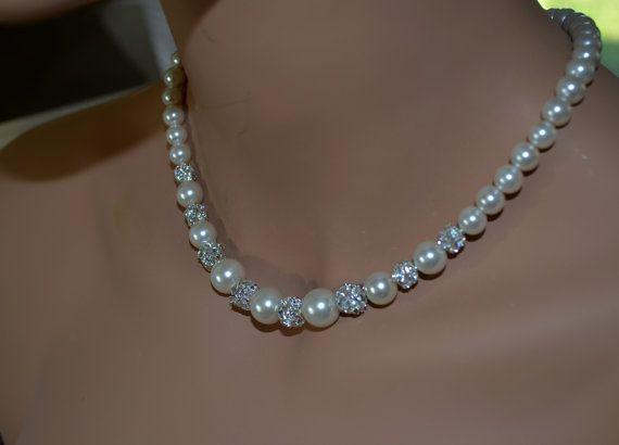 Perle Ivoire et strass bijoux ensemble collier de par Eienblue