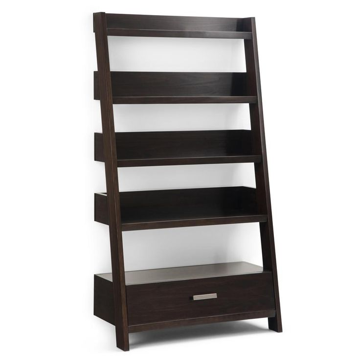 Simpli Home Deanna Ladder Bookcase Color Auburn Brown Wood Ladder Shelf Ladder Shelf Simpli Home
