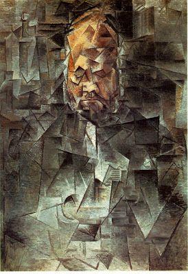 """Cubismo analitico  """"Retrato de Ambroise Vollard"""" (1910) colores: grises y ocres"""