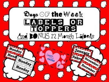 Days of the Week/ Months Labels/Toppers