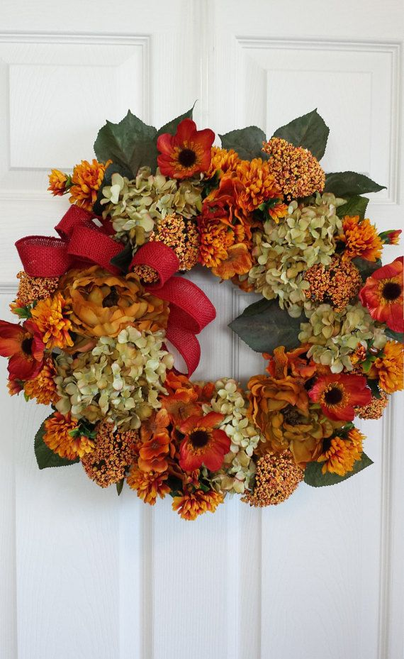 fall wreaths fall front door wreaths fall season wreaths housewarming gift - Fall Harvest Decor