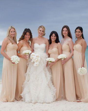 flowy peach bridesmaids