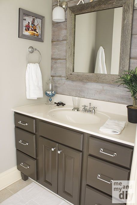 Amazing bathroom reveal from Me and My DIY. Left wall is painted Benjamin Moore Thunder.