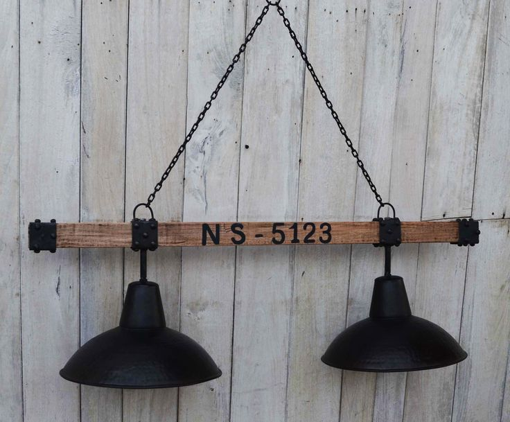 2 Lamp Iron Industrial Lamp Shade On Timber Cross Bar