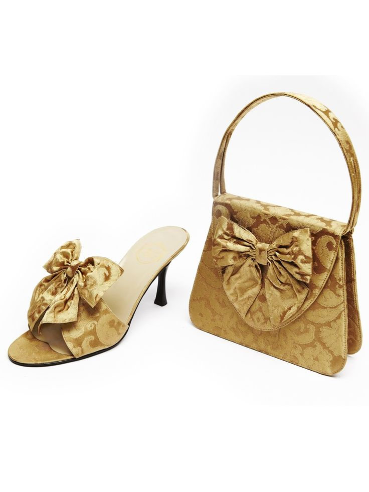 """""""L'Insolente"""" bag with matching shoe style """"Bal à Venise"""" in Rubelli gold silk brocade. Why not take a dream and hold it in your hand?"""