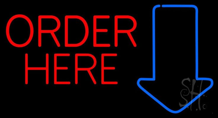Red Order Here With Arrow Neon Sign 20 Tall x 37 Wide x 3 Deep, is 100% Handcrafted with Real Glass Tube Neon Sign. !!! Made in USA !!!  Colors on the sign are Red and Blue. Red Order Here With Arrow Neon Sign is high impact, eye catching, real glass tube neon sign. This characteristic glow can attract customers like nothing else, virtually burning your identity into the minds of potential and future customers.