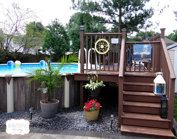 133 best images about pools tiki bars on pinterest for Above ground pool siding ideas