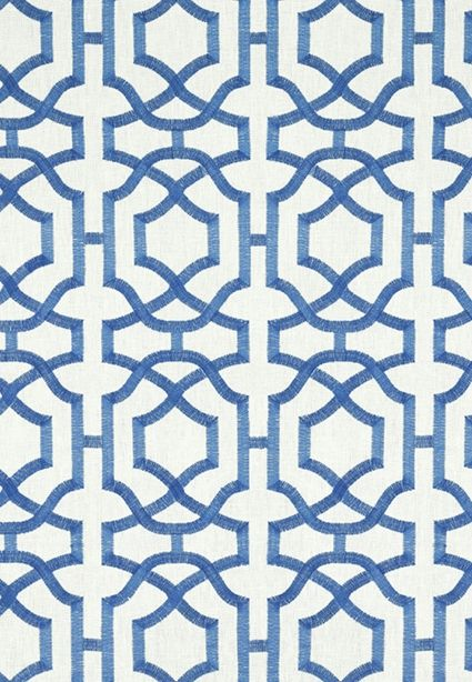 Alston Trellis Embroidery Fabric A pure linen fabric embroidered with a interlocking geometric trellis design woven in blue on a white ground.