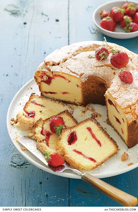 Strawberry Swirl Cream Cheese Pound Cake . a recipe from Simply Sweet ColorCakes . teatime .