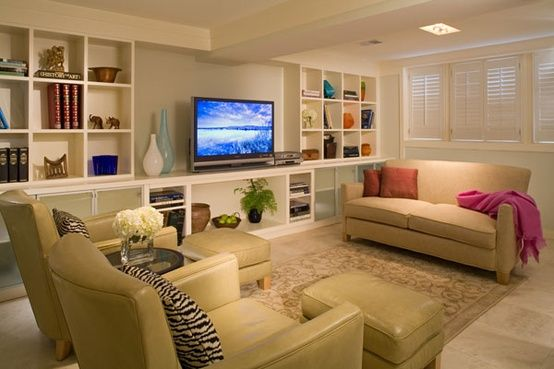 basement idea but covered lower cabinets and clearly some sort of seating facing the television. Who are we kidding