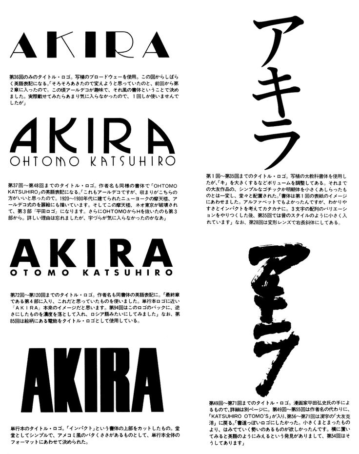 Graphic Design. The logo for Otomo's 'Akira', in stages -