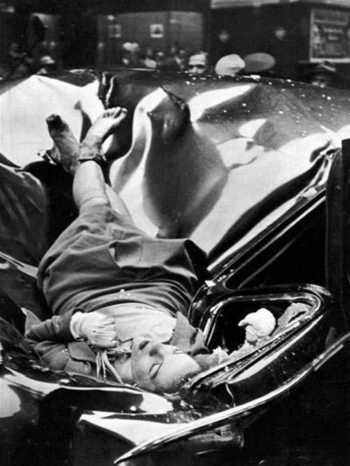 """""""The Most Beautiful Suicide"""" -On May 1, 1947, 23-year-old Evelyn McHale leapt to her death from the 86th floor observation deck and landed on a United Nations limousine parked at the curb. Photography student Robert Wiles took a photo of McHale's oddly intact corpse a few minutes after her death. The police found a suicide note among possessions she left on the observation deck: """"He is much better off without me … I wouldn't make a good wife for anybody""""."""