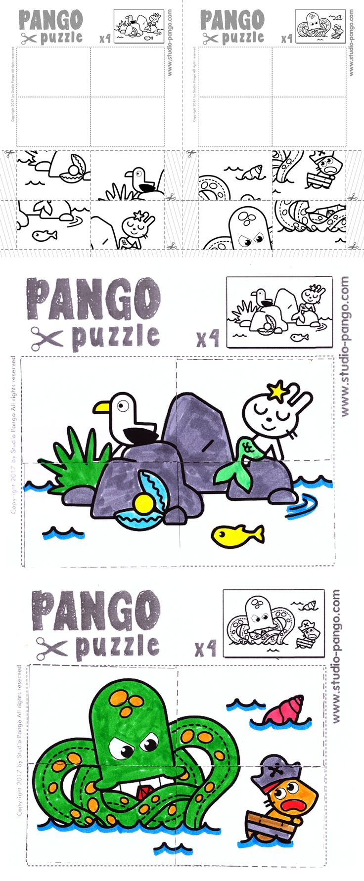 Pirate sea jigsaw puzzle #4 #pieces #preschoolers #maternelle