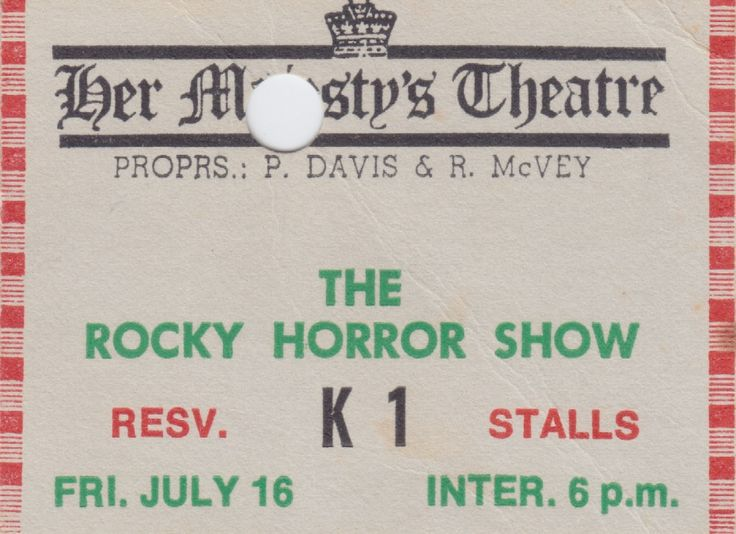 The Rocky Horror Show, Her Majesty's Theatre, Brisbane, 1982.