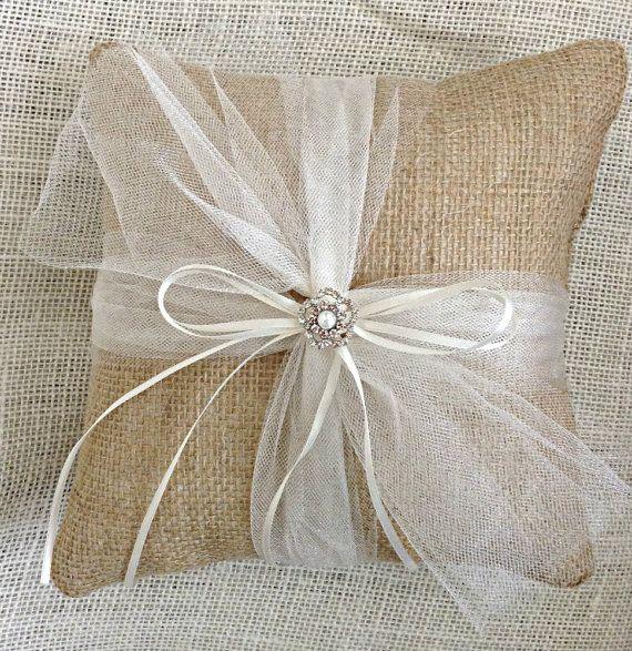 Burlap Ring Bearer Pillow Burlap Ring Pillow Wedding Ring
