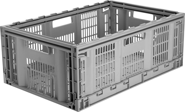 CleverMade CleverCrates Pro-Grade 46 Liter Collapsible Storage Bin/Container: Grated Wall Utility Basket/Tote, Grey, 3 Pack