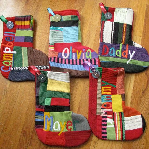 Recycled sweater personalised Christmas stockings - LOVE these! Would love to get them for my family.Festivals Stockings, Recycle Sweaters, Sweaters Crafts, Christmas Crafts, Christmas Stockings, Christmas Boards, Sweaters Stockings, Recycled Sweaters, Festivals Ideas