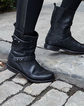 Moto Boot black leather with push pin hardware detail for straps, by Rag and Bone