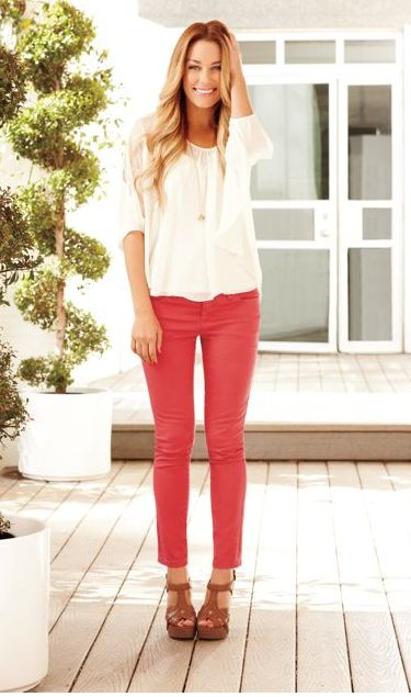 LC Lauren Conrad: Coral Jeans, Coral Pants, Skinny Jeans, Red Jeans, Pink Pants, Color Jeans, Lauren Conrad, Color Pants, Red Pants