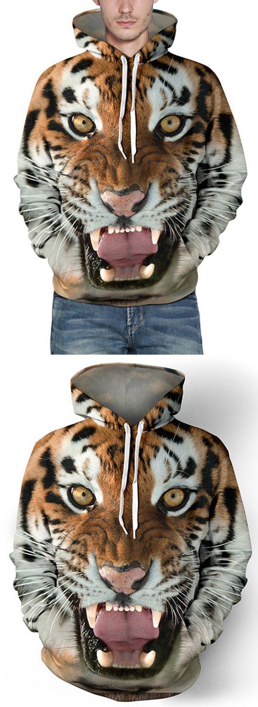 Hot Sale Drawstring Hooded Front Pocket Cool 3D Tiger Print Long Sleeves Men's Loose Fit Hoodie