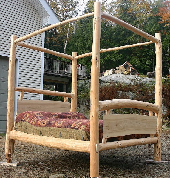 Love handcrafted queen canopy log bed one of a kind by for One of a kind beds