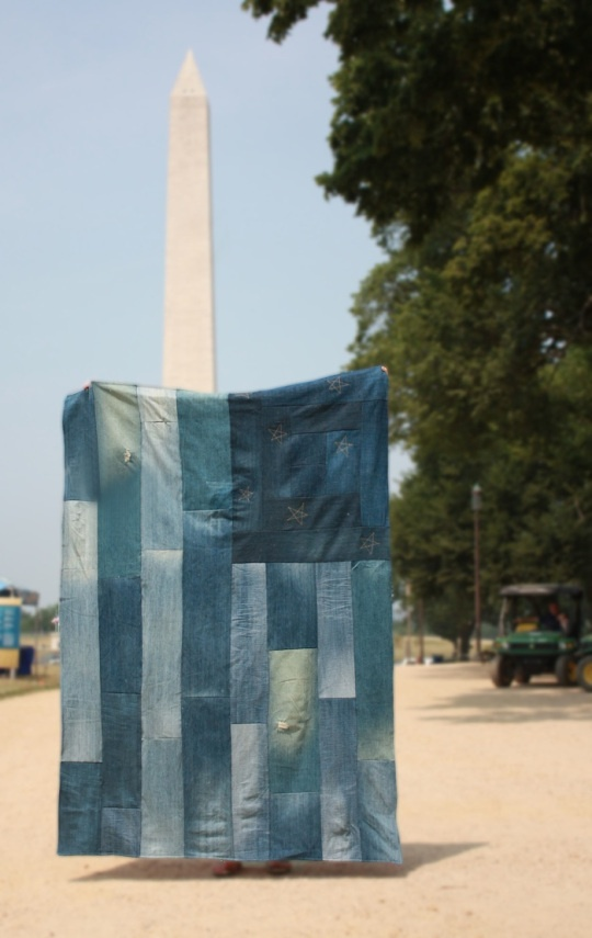 This would be cool with red fleece backing and as a rag quilt  Flag Quilt Monument