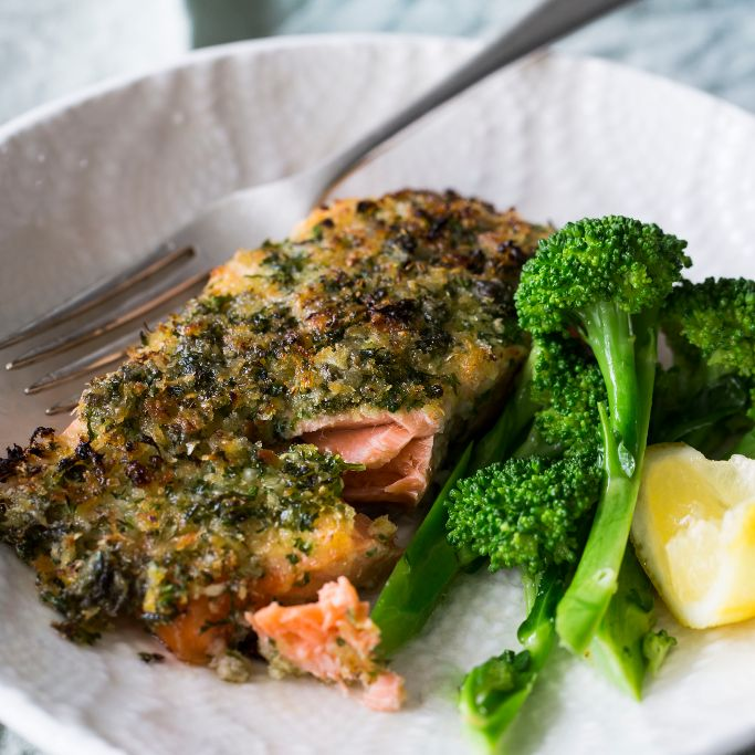 Gremolata is a useful Italian condiment made of lemon, garlic and parsley capable of transforming a meal, and goes great with the richness of salmon