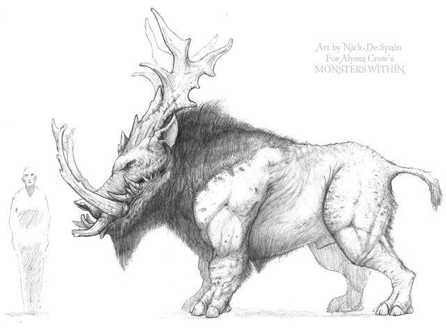 "Creature concept art sketch by artist Nick De Spain for Alyssa Crow's ""Monsters Within"".  #ConceptArt #Comics #Creature #Design #Beast #Monster"