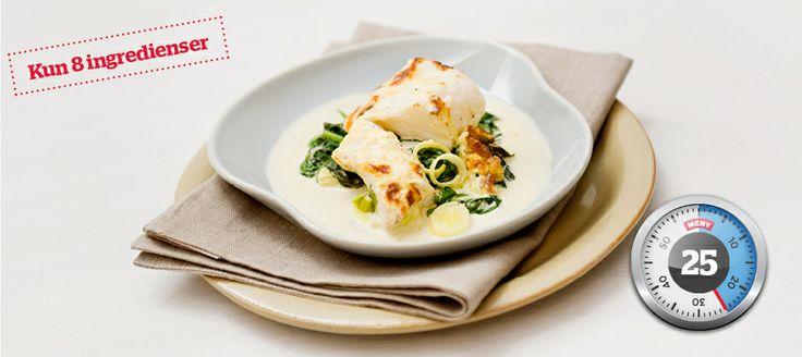 Gratinert lettsaltet torsk med spinat