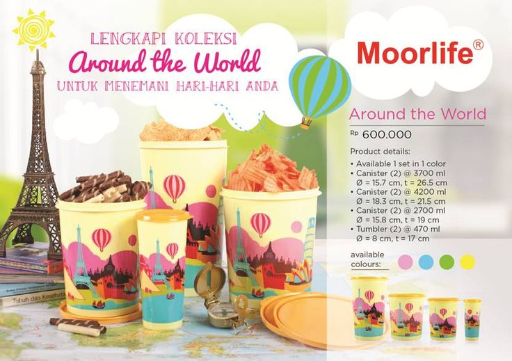 Moorlife Around the World set Rp.600.000,- (belum discount) 1 set terdiri dari 8 pcs toples (cannister) dan 2 tumbler