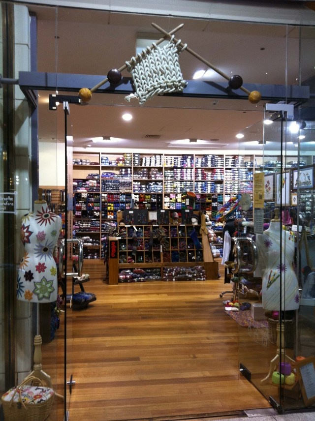 Melbourne yarn shop: dig the installation above the doorway!