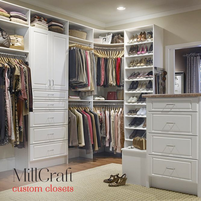 Millcraft Custom Closets With Island Storage Island In The Closet Can Be Very Functi Home Depot Closet Organizer Home Depot Closet Closet Organization Designs