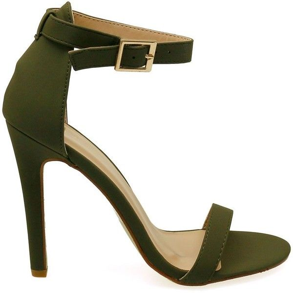 Charlie-1 Olive Open Toe Ankle Strap Single Sole Heels ($30) ❤ liked on Polyvore featuring shoes, pumps, ankle strap pumps, strappy pumps, strap shoes, olive green shoes and ankle wrap pumps
