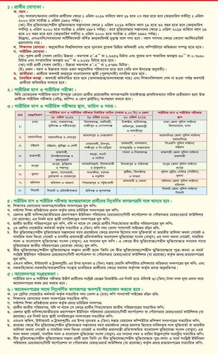 Bangladesh Police Sub-Inspector SI Circular 2019 | www police gov bd