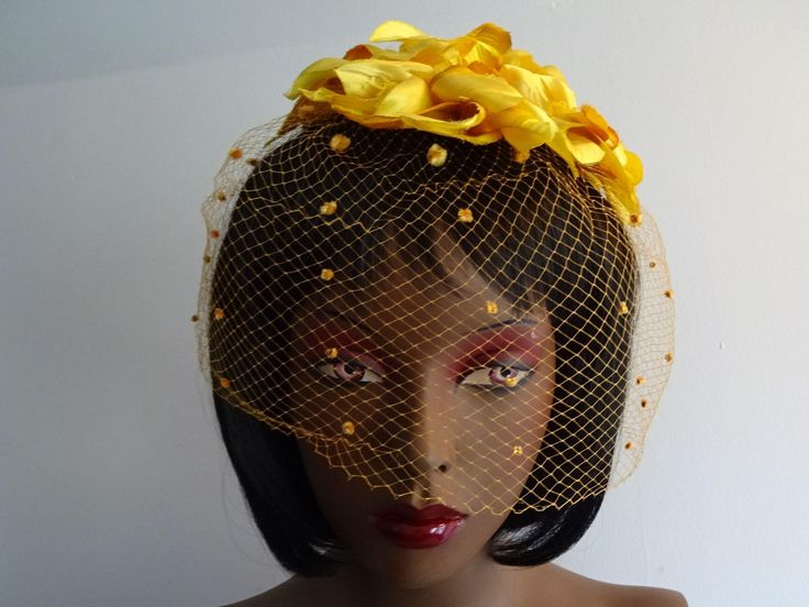 Yellow Fascinator Hat Vintage 1950s Millinery Flowers Polka Dot Veil Whimsy Cocktail Birdcage Bridesmaid  $24  https://www.rubylane.com/item/676693-A17-105/Yellow-Fascinator-Hat-Vintage-1950s-Millinery?search=1#