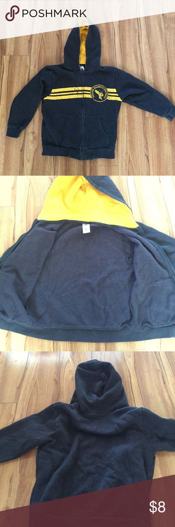 """Boys Gymboree Black and Yellow Zip up Jacket """"Yellow Hornets Football"""" zip up jacket with hoodie. 85% cotton, 15% polyester. Has pockets. Slightly stretchy. Slightly faded by the bottom of the jacket, but not very noticeable Gymboree Jackets & Coats"""