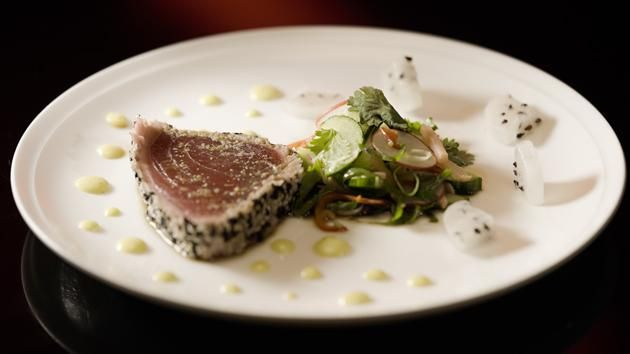 Sesame Crusted Tuna with Dragonfruit & Radish Salad