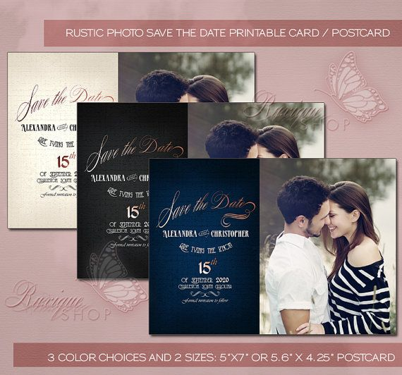 #Rustic #Photo #Save the #Date #PRINTABLE #DIY #Card / Postcard by Ruxique on Etsy
