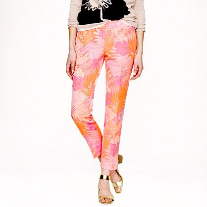 J.Crew - Collection jacquard pant in neon tropical floral