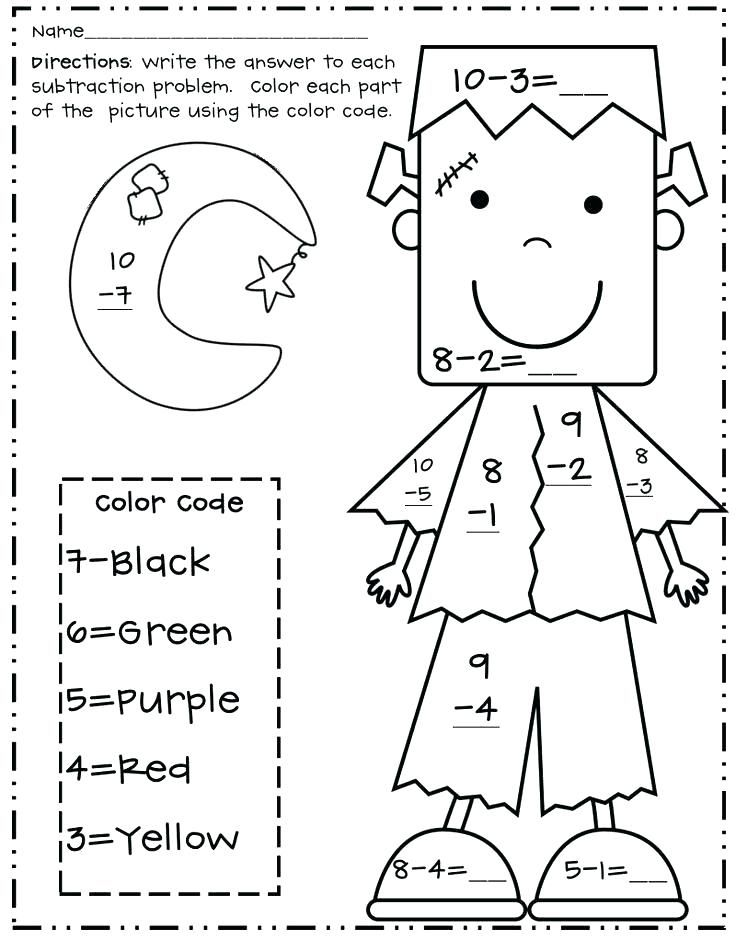 Math Coloring Pages Best Coloring Pages For Kids Halloween Math Halloween Worksheets Halloween Subtraction