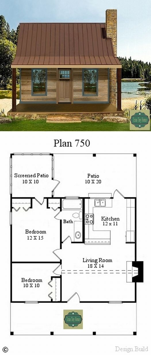 Texas Tiny Homes ~ 750 a/c sq. ft. Two bedrooms; 1 bath; family room with fireplace; sleeping loft, optional. Interior finish – custom. 10′ X 30′ screened-in back porch, 8′ X 30′ covered front porch. Built on slab, or pier and beam. Exterior facade – custom. **No washer & dryer space shown; guess you get …