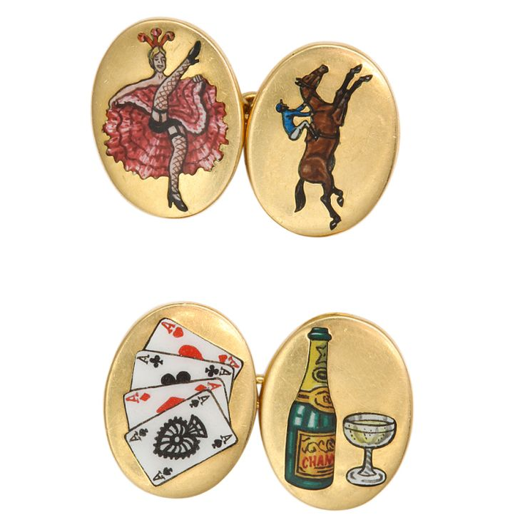 The Four Vices Gold Enamel Cufflinks | 1stdibs.com