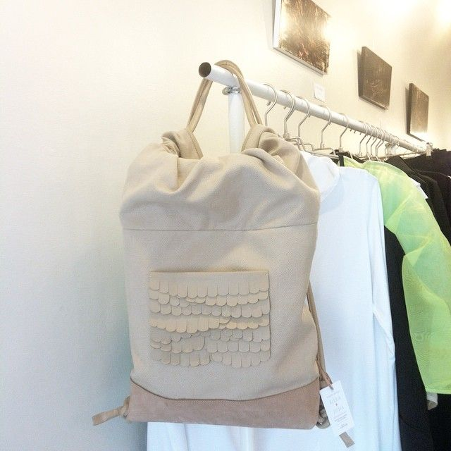 While backpack in nude at #ovvnshop Materials cotton and leather . #sustainablefashion #kuulaplusjylhä #backpack #helsinki
