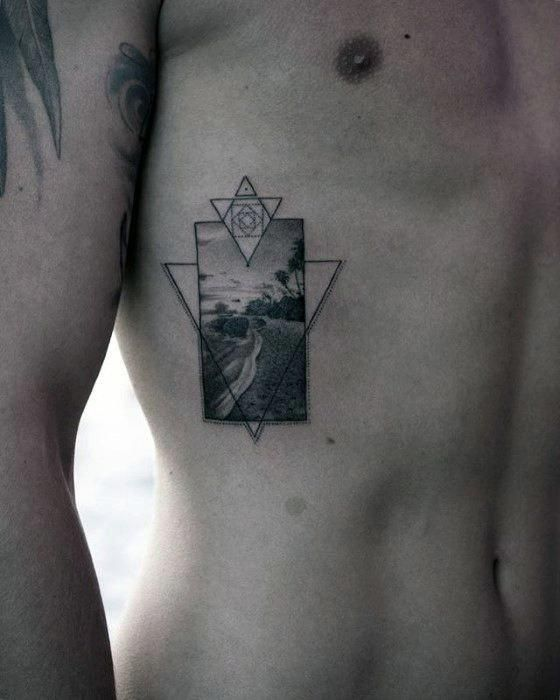 bd2243044 Geometric Realistic Small Beach Mens Rib Cage Side Tattoos #geometrictattoos