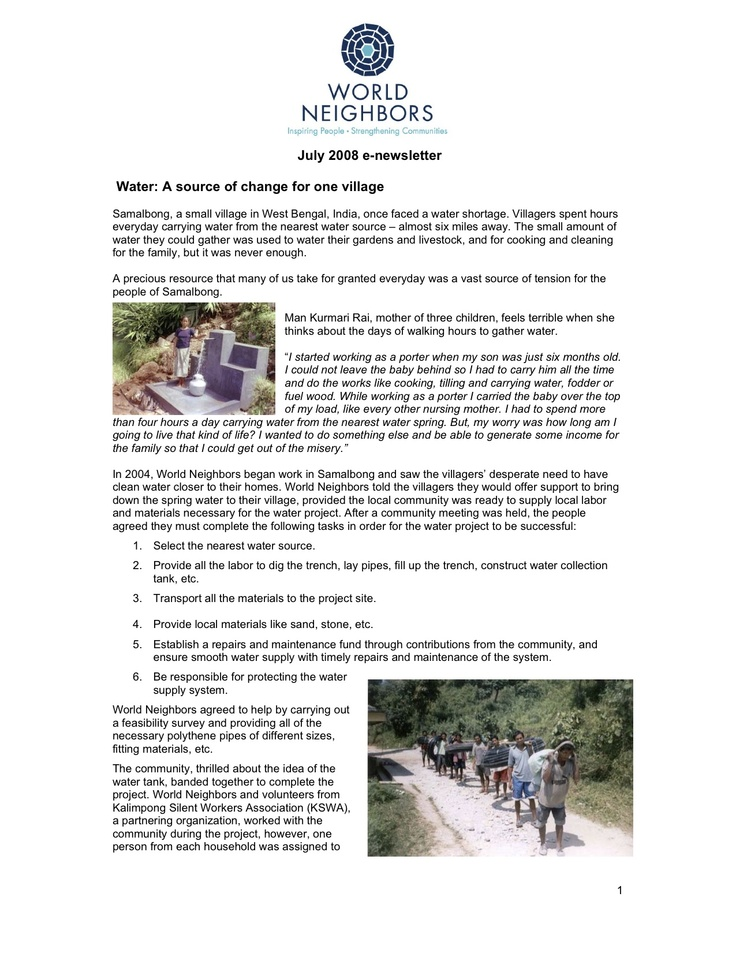 World Neighbors Online Newsletter - July 2008